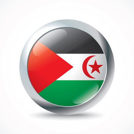 pentacle: Western Sahara flag button - vector illustration