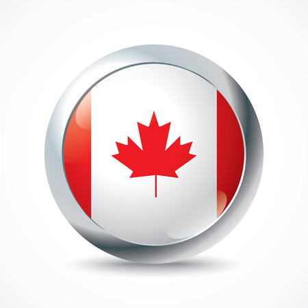 newfoundland: Canada flag button - vector illustration