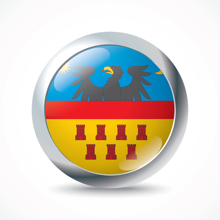 Transylvania flag button - vector illustration