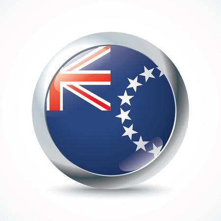 Cook Islands flag button - vector illustration