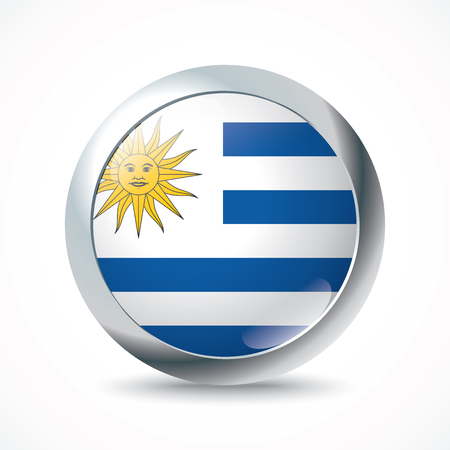 bandera de uruguay: Botón de bandera de Uruguay - ilustración vectorial