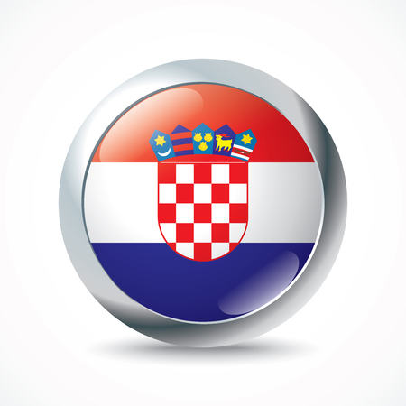 bandera de croacia: Botón de bandera Croacia - ilustración vectorial