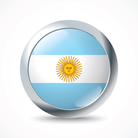 argentina flag: Argentina flag button - vector illustration