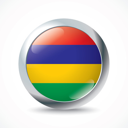 creole: Mauritius flag button - vector illustration