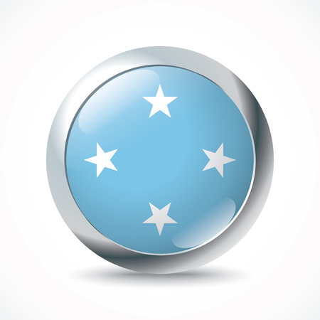 federated: Micronesia flag button - vector illustration Illustration