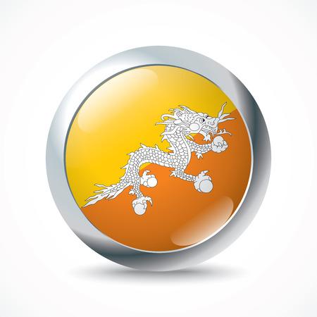 bhutan: Bhutan flag button - vector illustration Illustration