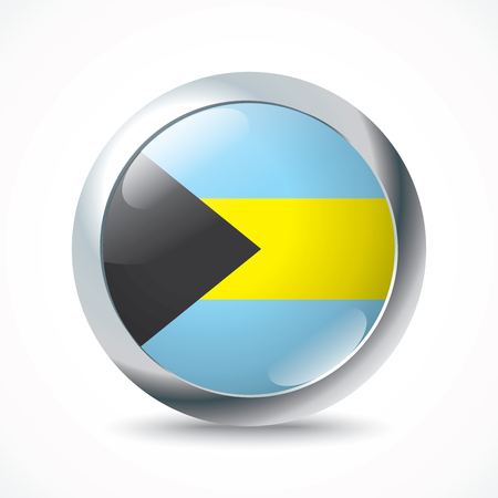 bahamas: Bahamas flag button - vector illustration
