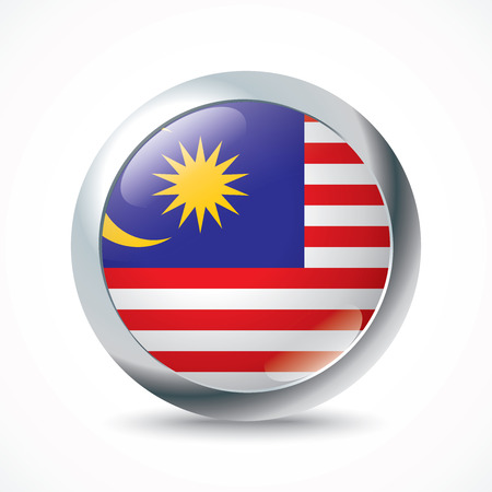 world flag: Malaysia flag button - vector illustration