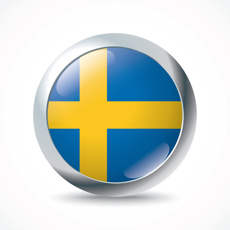 bandera de suecia: Suecia botón de la bandera - ilustración vectorial