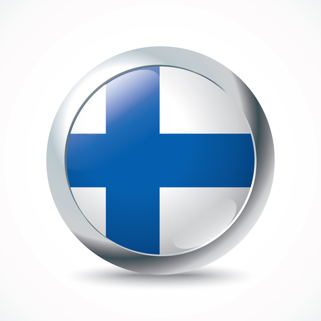 finland: Finland flag button - vector illustration
