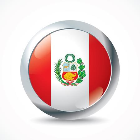 bandera de peru: Botón de bandera Perú - ilustración vectorial