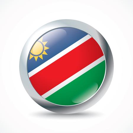 flag button: Namibia flag button - vector illustration