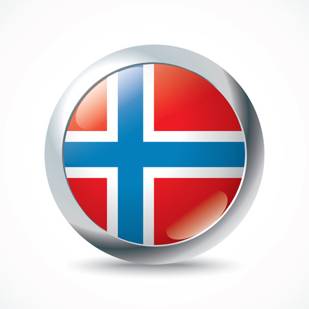 norway flag: Norway flag button - vector illustration