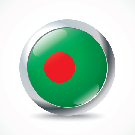 bangladesh: Bangladesh flag button - vector illustration