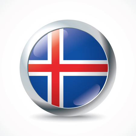 iceland flag: Iceland flag button - vector illustration