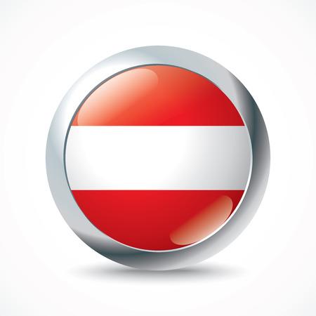 austria flag: Austria flag button- vector illustration