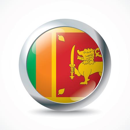 ceylon: Sri Lanka flag button - vector illustration