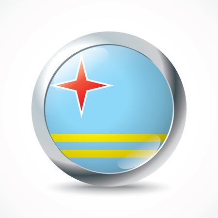 aruba flag: Aruba flag button - vector illustration