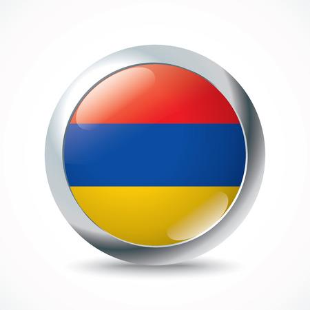 armenia: Armenia flag button - vector illustration