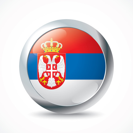 serbia flag: Serbia flag button - vector illustration