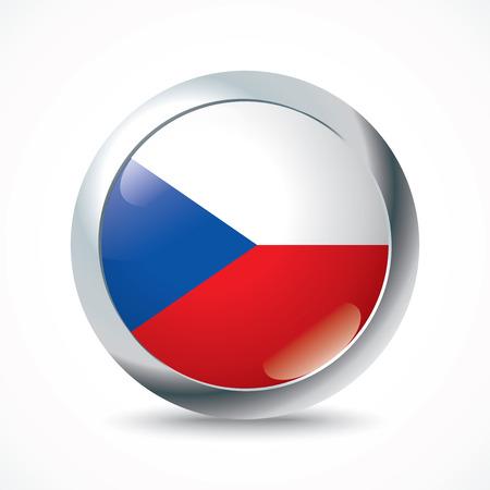 czech republic flag: Czech Republic flag button - vector illustration