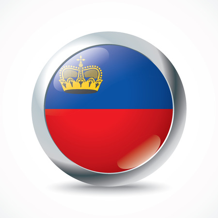 liechtenstein: Liechtenstein flag button - vector illustration Illustration