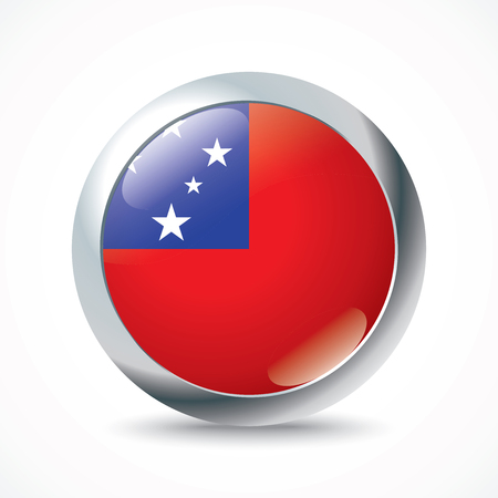 samoa: Samoa flag button - vector illustration