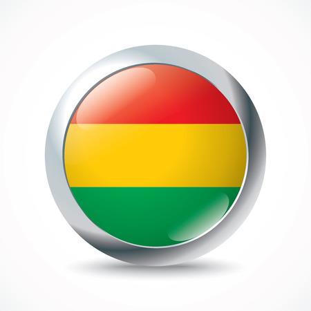 bandera de bolivia: Bot�n del indicador de Bolivia - ilustraci�n vectorial