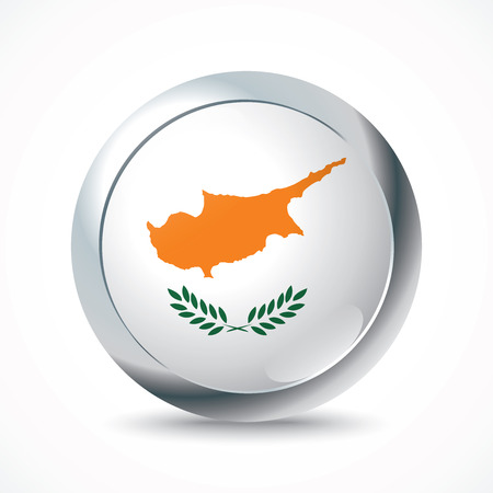 flag button: Cyprus flag button - vector illustration