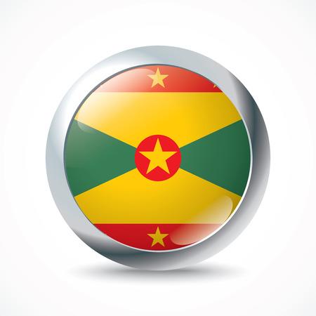 grenada: Grenada flag button - vector illustration
