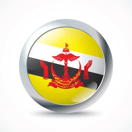 brunei: Brunei flag button - vector illustration