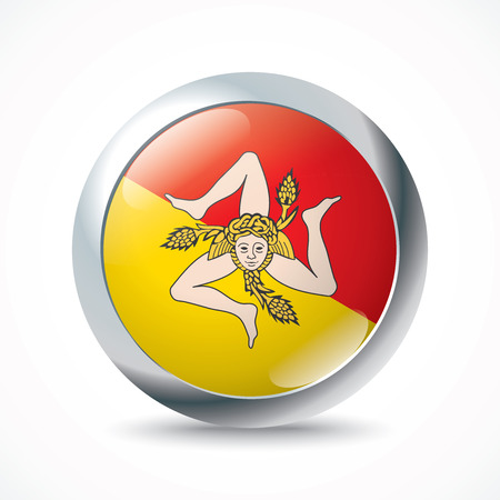 Sicily flag button - vector illustration