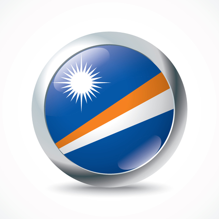 marshall: Marshall Islands flag button - vector illustration