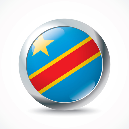 foreign country: Democratic Republic of the Congo flag button - vector illustration Illustration