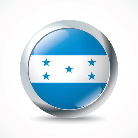 toltec: Honduras flag button - vector illustration