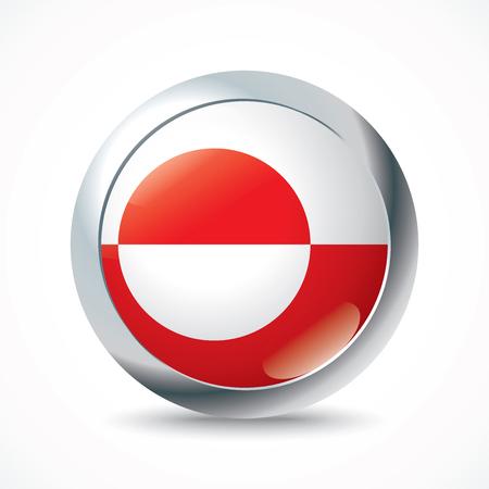 greenland: Greenland flag button - vector illustration