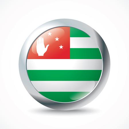 sukhumi: Abkhazia flag button - vector illustration