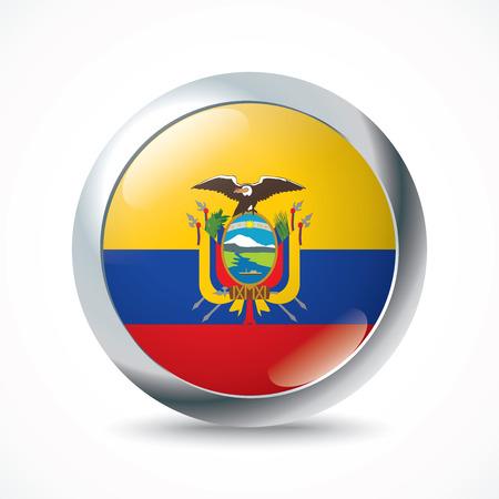 ecuador: Ecuador flag button - vector illustration