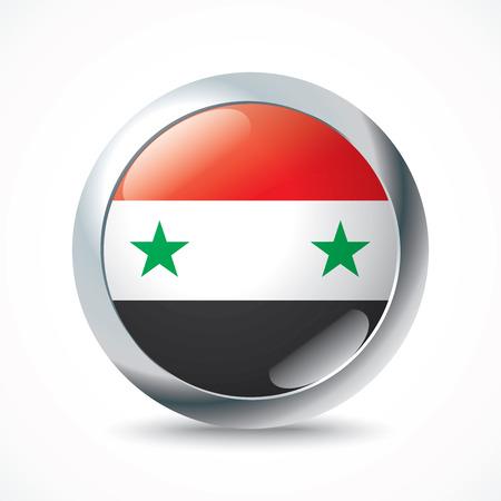 syria: Syria flag button - vector illustration