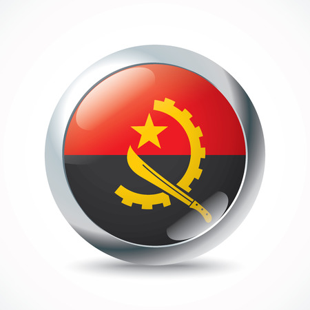 foreign country: Angola flag button - vector illustration