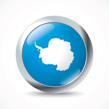 antarctica: Antarctica flag button - vector illustration