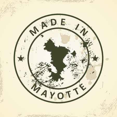 mayotte: Grunge stamp with map of Mayotte - vector illustration Illustration