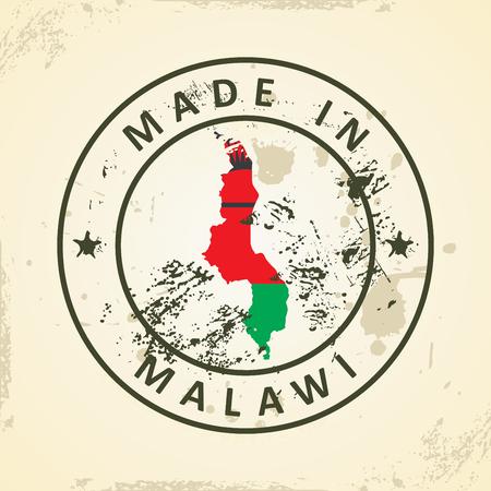 malawi: Grunge stamp with map flag of Malawi - vector illustration Illustration