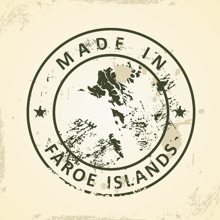 atlantic city: Grunge stamp with map of Faroe Islands - vector illustration Illustration