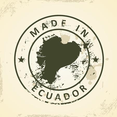 republic of ecuador: Grunge stamp with map of Ecuador - vector illustration