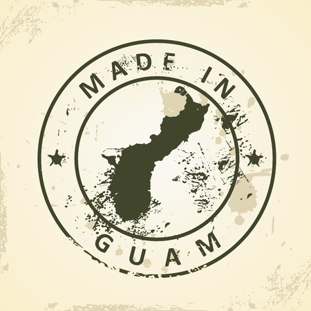 guam: Grunge stamp with map of Guam - vector illustration Illustration