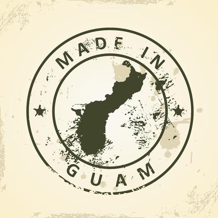 guam: Grunge stamp with map of Guam - vector illustration Illustration