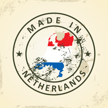 graphical chart: Grunge stamp with map flag of Netherlands - vector illustration