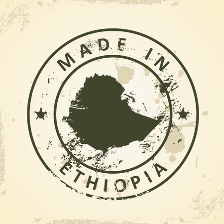 ethiopia abstract: Grunge stamp with map of Ethiopia - vector illustration