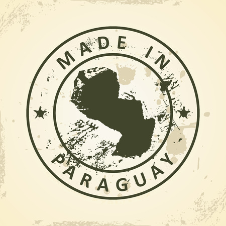 graphical chart: Grunge stamp with map of Paraguay - vector illustration